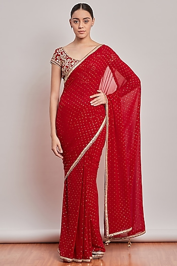 Red Embroidered Saree Set by Patine