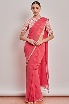 Blush Pink Embroidered Saree Set by Patine