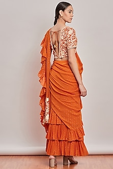 Orange Embroidered Pre-Stitched Saree Set by Patine