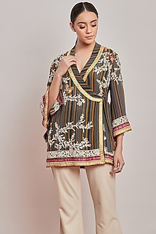 Multi Colored Striped & Embroidered Wrap Top by Patine