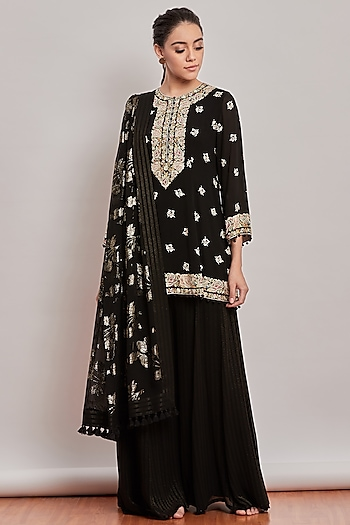 Black Floral Embroidered Sharara Set by Patine