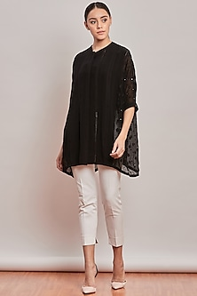 Black Chikankari Embroidered Top by Patine