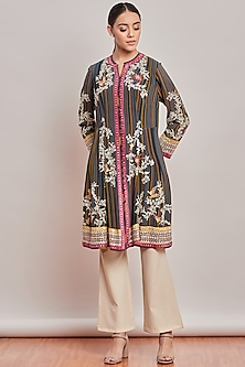 Multi Colored Striped & Embroidered Tunic by Patine