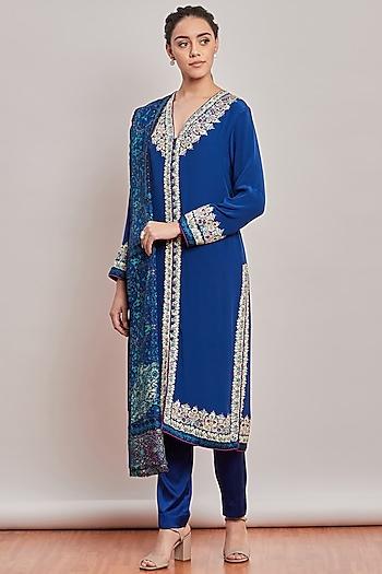 Cobalt Blue Embroidered & Printed Kurta Set by Patine