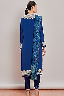 Cobalt Blue Embroidered & Printed Kurta Set by Patine