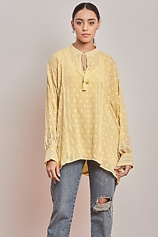 Yellow Chikankari Embroidered Top by Patine