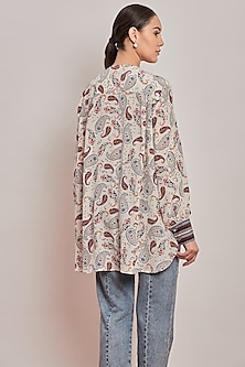 White Paisley Printed Shirt by Patine