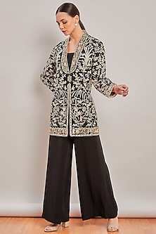 Black Embroidered Jacket by Patine