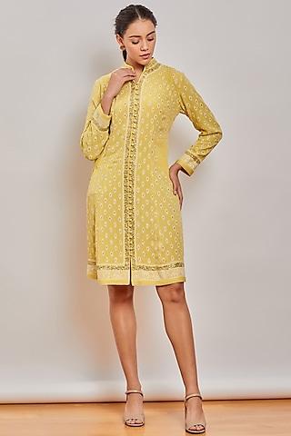 Yellow Chikankari Embroidered Dress by Patine