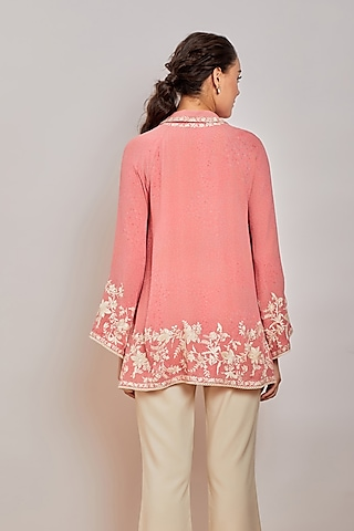 Pink Mirror Embroidered Button Down Shirt by Patine