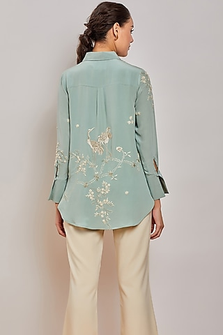 Mint Green Hand Embroidered Shirt by Patine
