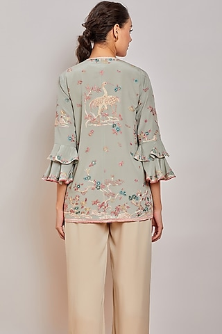 Mint Green Embroidered Jacket by Patine