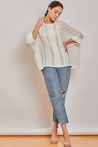 Off White Pleated Oversize Top by Patine