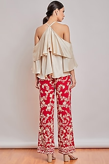 Red Mirror Embroidered Pants by Patine