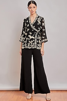 Black Embroidered Wrap Top by Patine