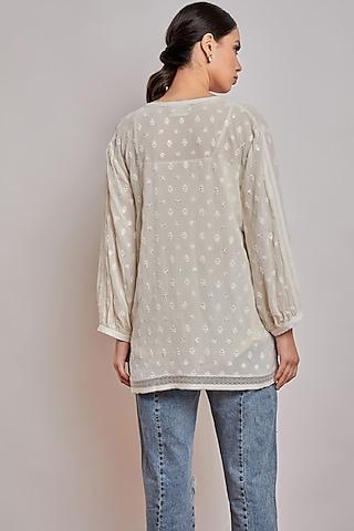 Off White Chikankari Shirt Top by Patine