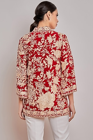 Red Embroidered Wrap Top by Patine