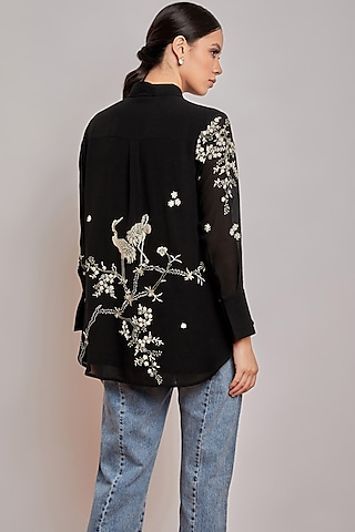Black Hand Embroidered Shirt by Patine