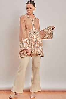 Nude Printed & Embroidered Shirt by Patine