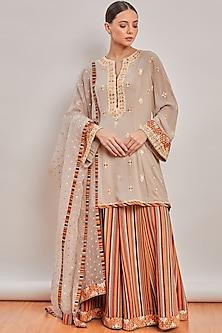 Grey Embroidered & Printed Sharara Set by Patine