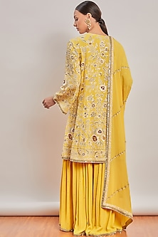 Yellow Embroidered Sharara Set by Patine