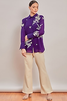 Purple Pearl Embroidered Shirt by Patine
