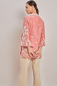 Blush Pink Printed & Embroidered Shirt by Patine
