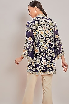 Purple Embroidered Wrap Top by Patine