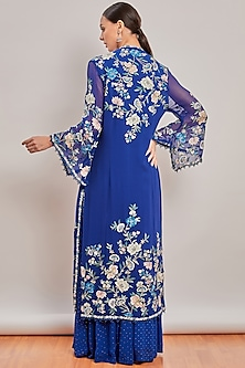 Cobalt Blue Embroidered Sharara Set by Patine