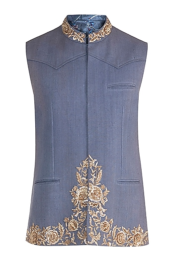 Blue Embroidered Bundi Jacket by Pawan & Pranav Haute Couture