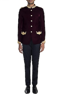 Wine Embroidered Bandhgala Jacket by Pawan & Pranav Haute Couture