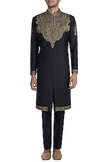Black Embroidered Sherwani Jacket & Churidar Pants by Pawan & Pranav Haute Couture