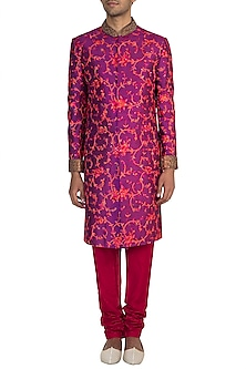 Purple Embroidery Sherwani Jacket With Churidar Pants by Pawan & Pranav Haute Couture