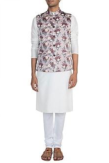 Pink Printed Bundi Jacket by Pawan & Pranav Haute Couture