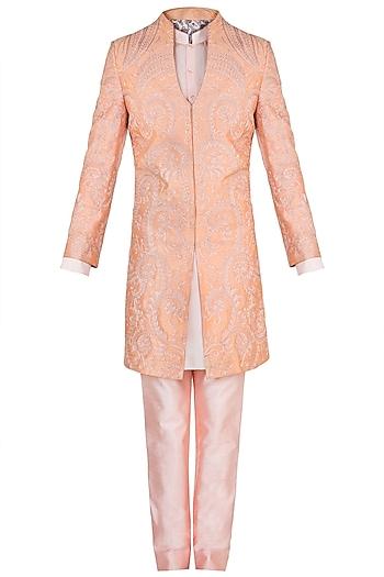 Peach Embroidered Sherwani Set by Pawan & Pranav Haute Couture