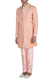 Peach Embroidered Sherwani Set by Pawan & Pranav Haute Couture