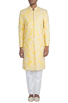 Yellow Sherwani Jacket & White Churidar Pants by Pawan & Pranav Haute Couture
