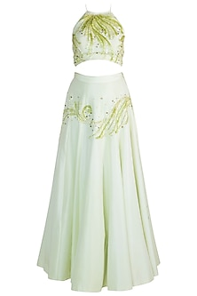Light Green Embroidered Lehenga Set by Pawan & Pranav Haute Couture