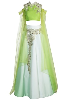 Light Green Embroidered Silk Lehenga Set by Pawan & Pranav Haute Couture