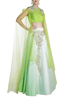 Light Green Embroidered Silk Lehenga Set by Pawan & Pranav Haute Couture
