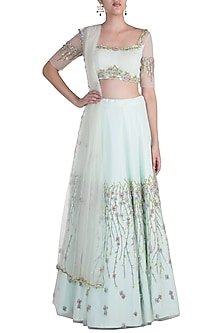Mint Green Embroidered Lehenga Set by Pawan & Pranav Haute Couture