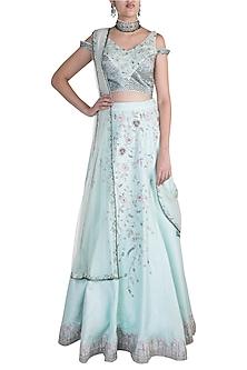 Mint Blue Embroidered Lehenga Set by Pawan & Pranav Haute Couture
