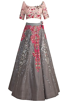 Grey Embroidered Lehenga Set by Pawan & Pranav Haute Couture