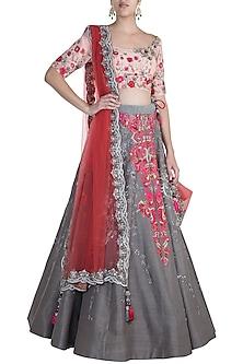 Grey Embroidered Lehenga Set by Pawan & Pranav Haute Couture