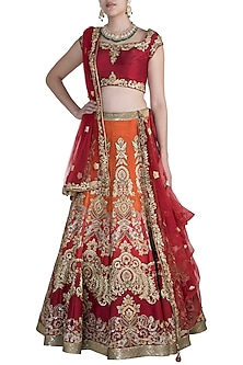 Maroon Embroidered Ombre Lehenga Set by Pawan & Pranav Haute Couture