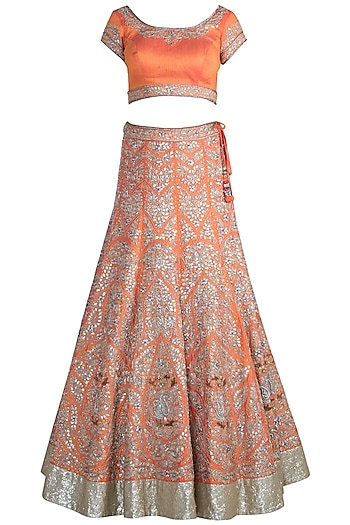 Orange Embroidered Lehenga Set by Pawan & Pranav Haute Couture