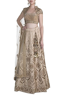 Gold Embroidered Lehenga Set by Pawan & Pranav Haute Couture