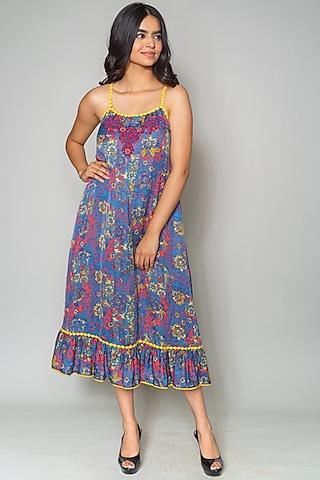 Cobalt Blue Ruffled Midi Dress by Payal Jain