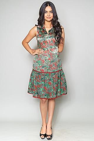 Green Printed Lace Skirt by Payal Jain