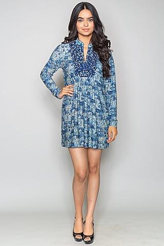 Cobalt Blue Printed Dress by Payal Jain